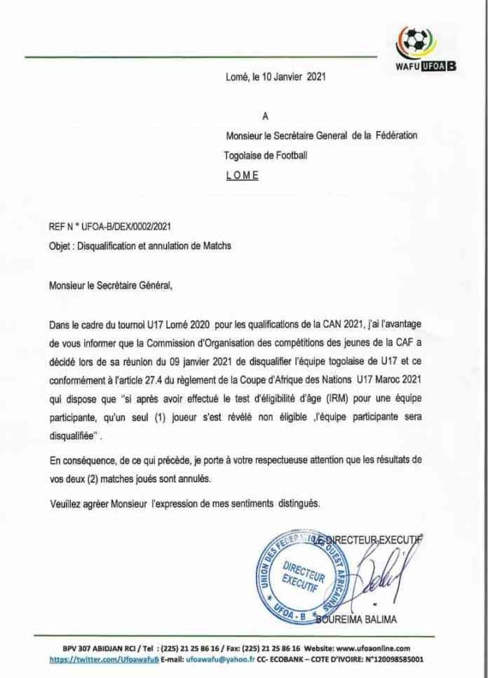 Tournoi UFOA B-U17 : Les Eperviers cadets épinglés et disqualifiés pour fraude sur l'âge des joueurs - L'Equipe Sportive